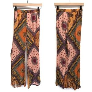 Zara Bohemian Pink, Orange & Yellow Pants - Size S
